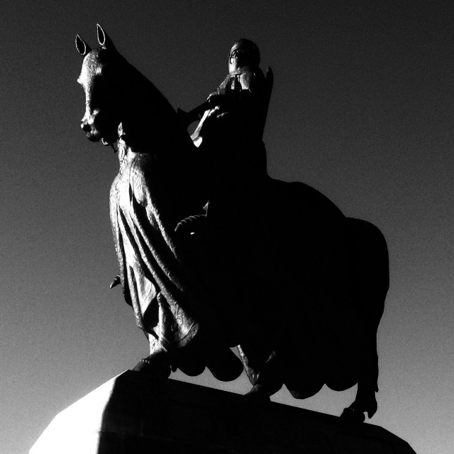 """Statue of King Robert The Bruce at Bannockburn battlefield site near Stirling, Scotland"" stock image"