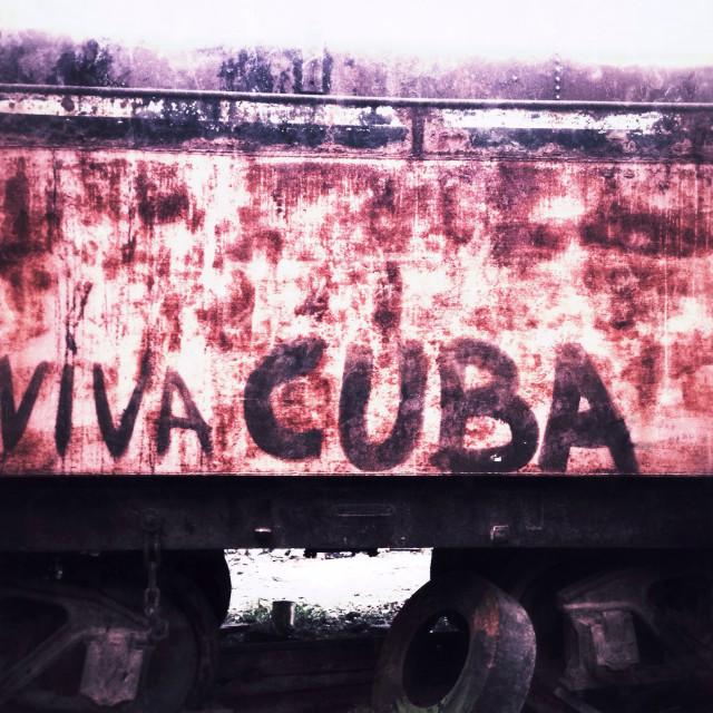 """""""Viva Cuba graffiti. Havana Cuba."""" stock image"""