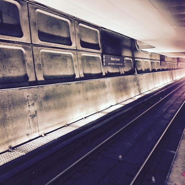"""Subway train arriving"" stock image"