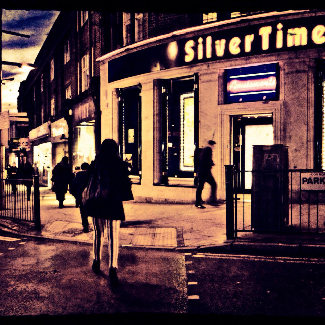 """Night scene, Wembley High Road, London, Brent, UK"" stock image"