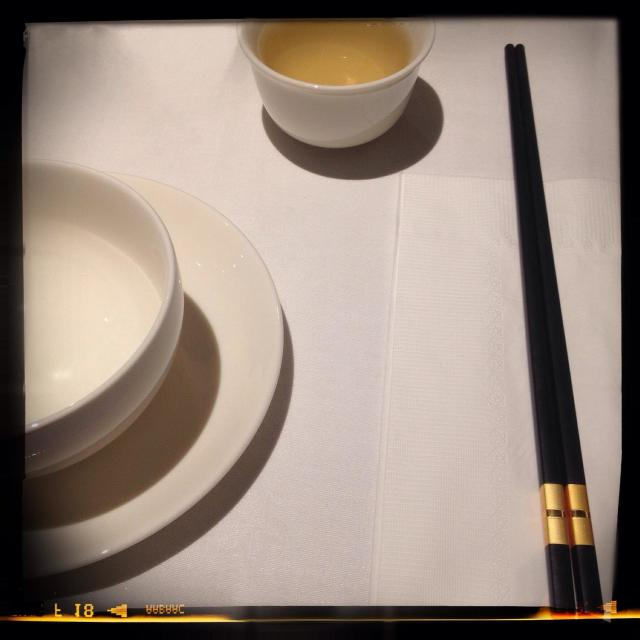 """Bowl, chopsticks and Chinese tea"" stock image"