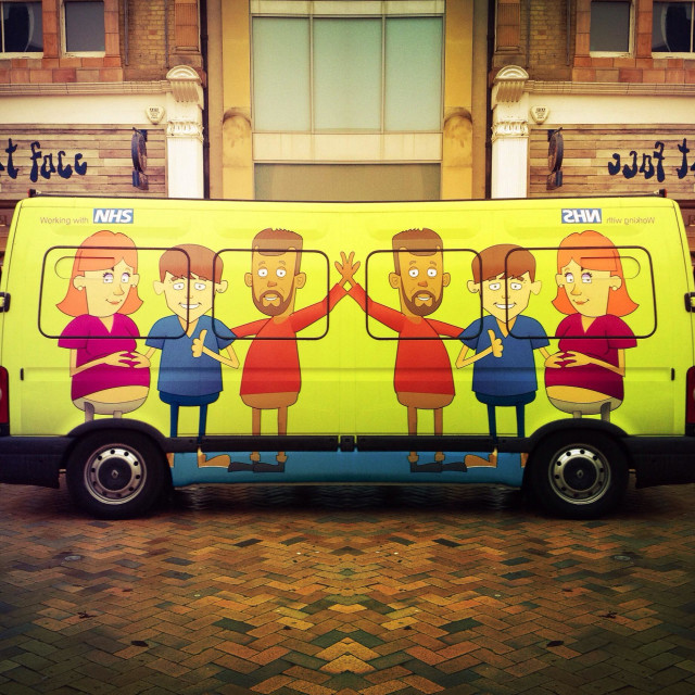 """""""Anti-Smoking campaign on a Van in Bromley"""" stock image"""