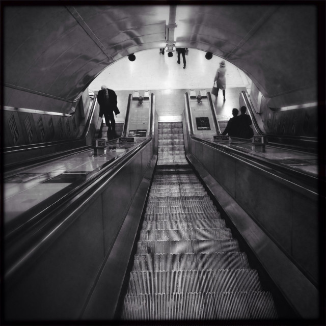 """Looking down London Underground escalators"" stock image"