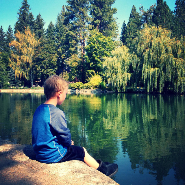 """""""Sitting by the Deschutes !"""" stock image"""
