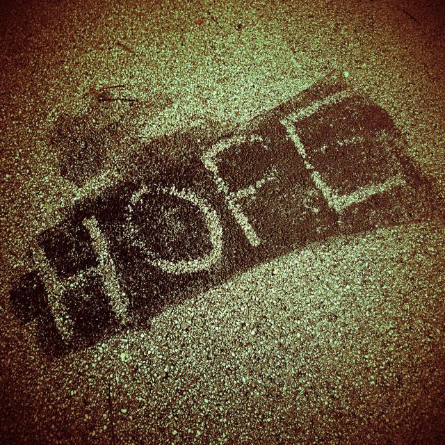 """""""Hope written on pavement"""" stock image"""
