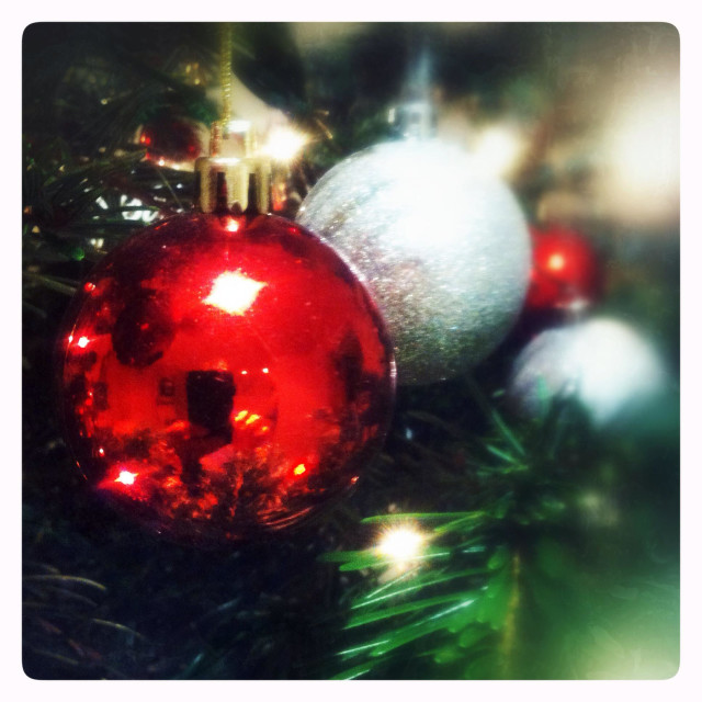 """""""Christmas baubles on the tree"""" stock image"""