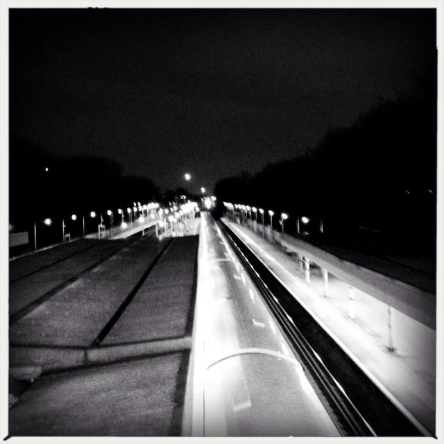 """Train station at night"" stock image"