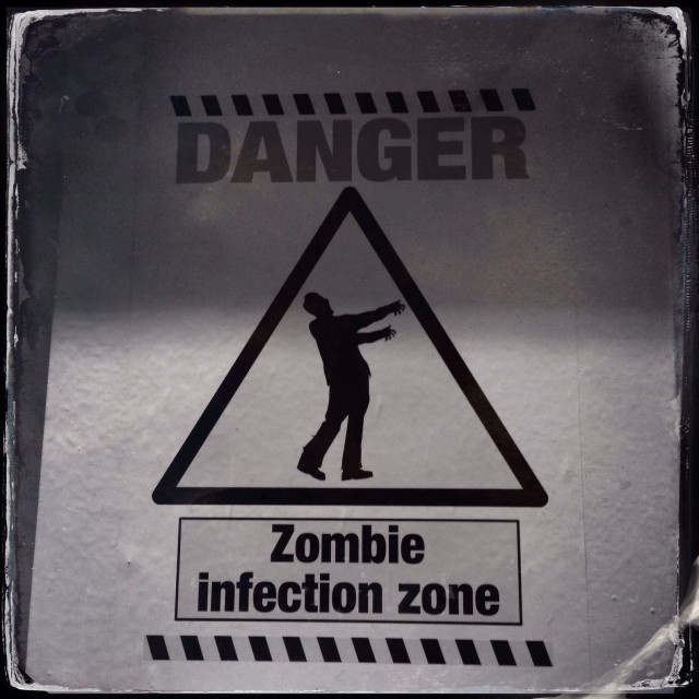 """Fake sign - zombie infection zone"" stock image"