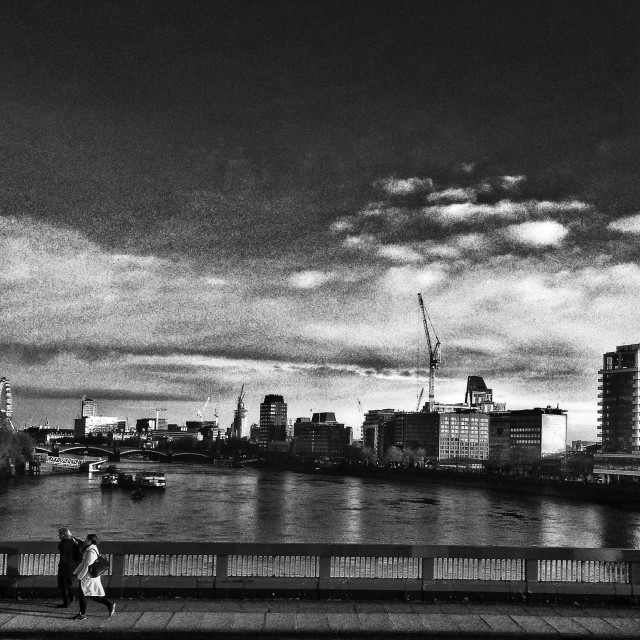 """Vauxhall bridge view in Black and white"" stock image"