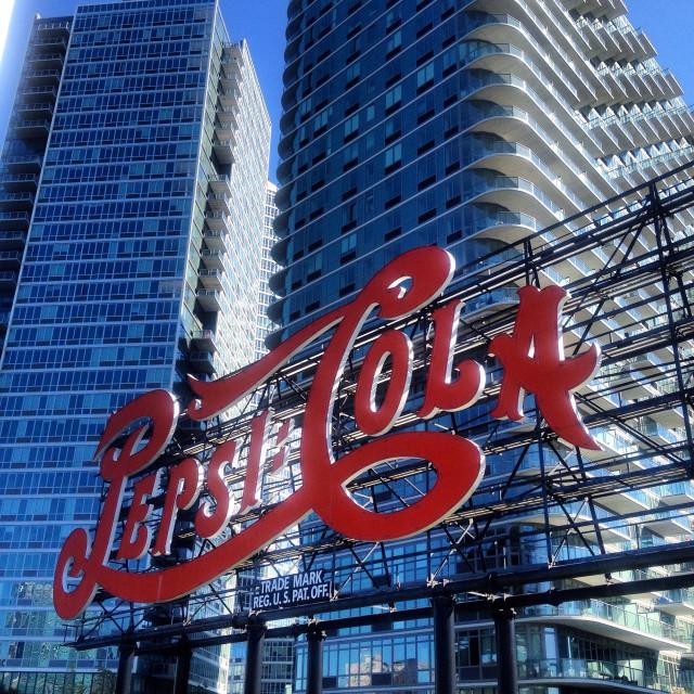 """Pepsi-Cola billboard in NYC"" stock image"