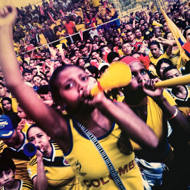 """""""Colombia football fans cheer while watching the football match between Colombia and Japan at the FIFA World Cup 2014, in a park in Cali, Colombia, 24 June 2014."""" stock image"""