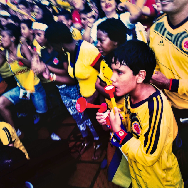 """Colombia football fans cheer while watching the football match between Colombia and Japan at the FIFA World Cup 2014, in a park in Cali, Colombia, 24 June 2014."" stock image"