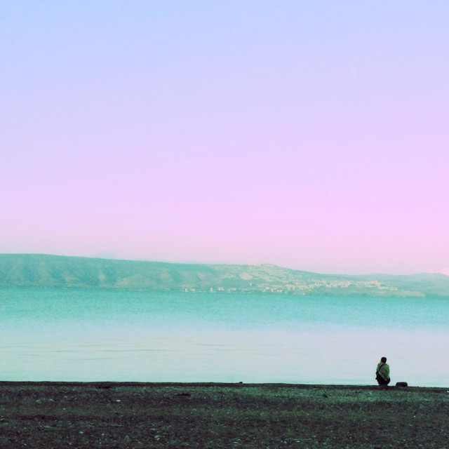 """""""A beautiful morning on the Sea of Galilee"""" stock image"""