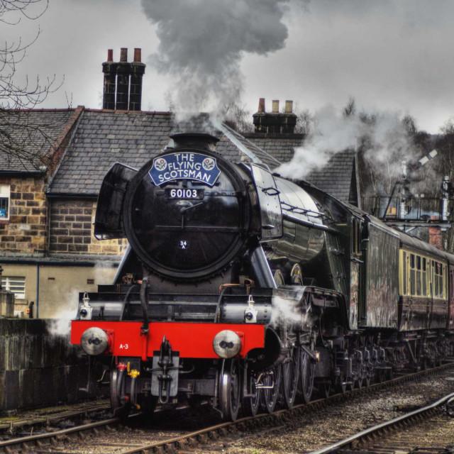 """Flying Scotsman, Departing Gromont Station"" stock image"