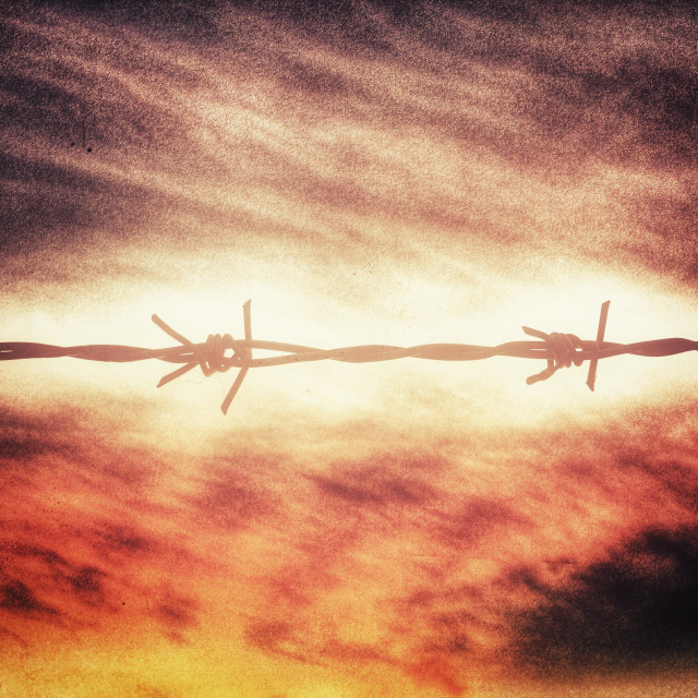 """Barbwire against dramatic sunset"" stock image"