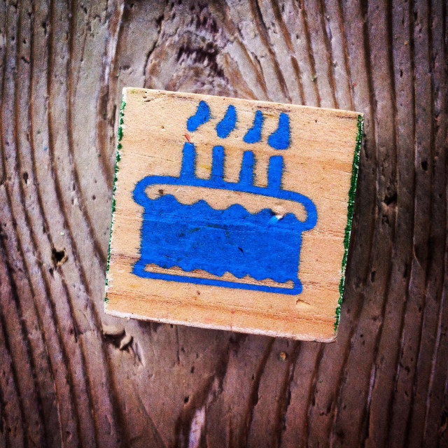 """Birthday cake with 4 candles"" stock image"