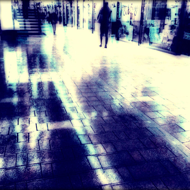 """Shopping centre at night, Wembley, London, United Kingdom"" stock image"