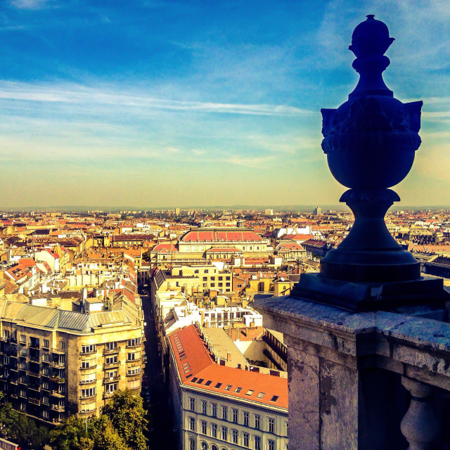 """""""View of Budapest (the Pest side) from atop the St. Steven Basilica on a sunny, late summer day."""" stock image"""