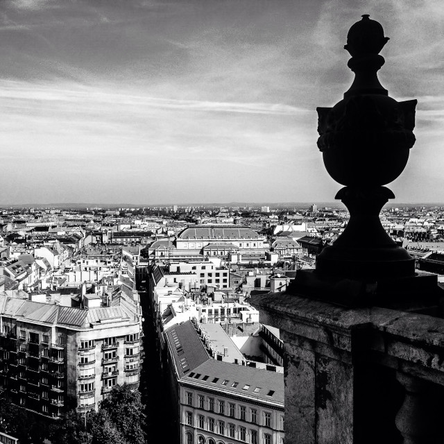 """""""View of Budapest from atop the St. Steven Basilica, in black and white."""" stock image"""