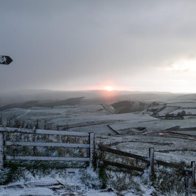 """""""UK Weather:Snowfall High Peak Derbyshire,UK"""" stock image"""