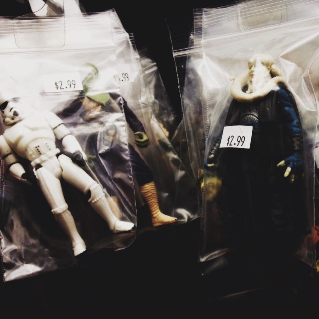 """""""Star Wars figures are for sale in a shop in Brooklyn, New York."""" stock image"""