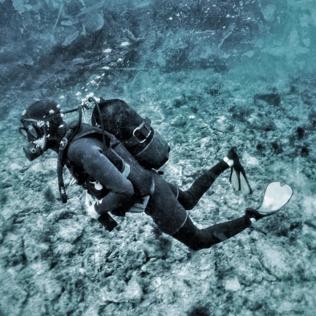 """Young male scuba diver swimming in the sea"" stock image"