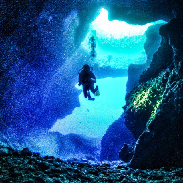 """""""Young male scuba diver swimming in the blue hole"""" stock image"""