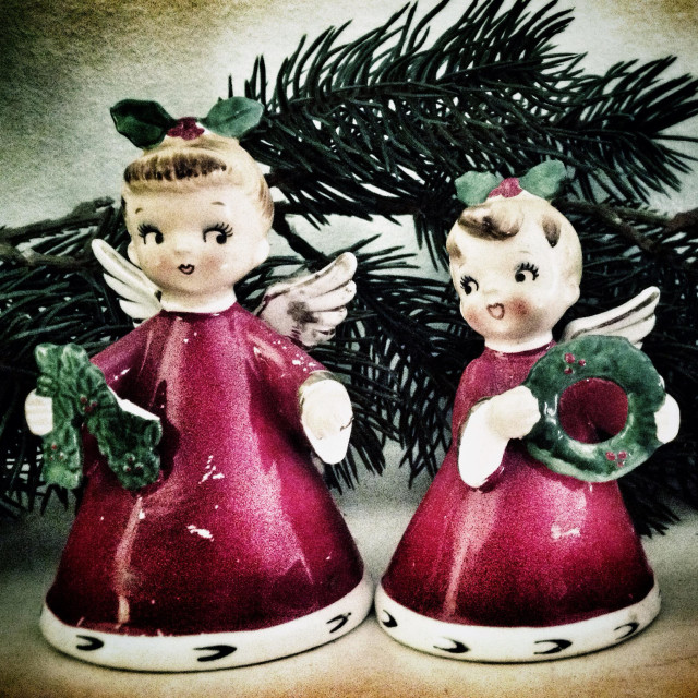 """Kitsch vintage Christmas angel ornaments"" stock image"