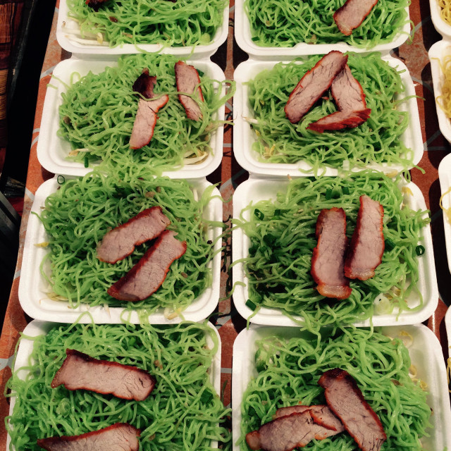 """Duck Meat on Green Noodles"" stock image"