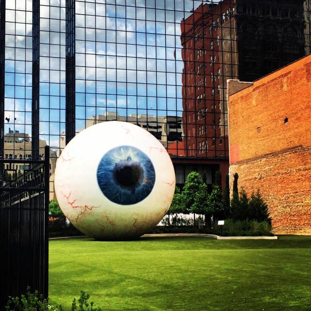 """The Eye by Tony Tasset in Dallas, TX."" stock image"
