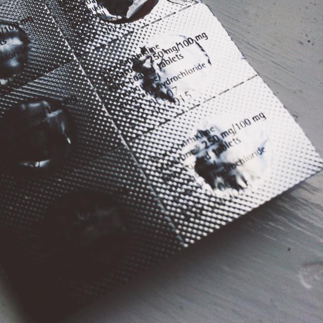 """Blister pack of Malarone malaria tablets"" stock image"