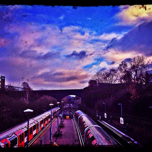 """""""Tube station platform, London, UK"""" stock image"""