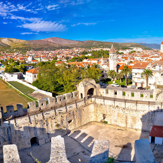 """Town of Trogir rooftops and landmarks view"" stock image"