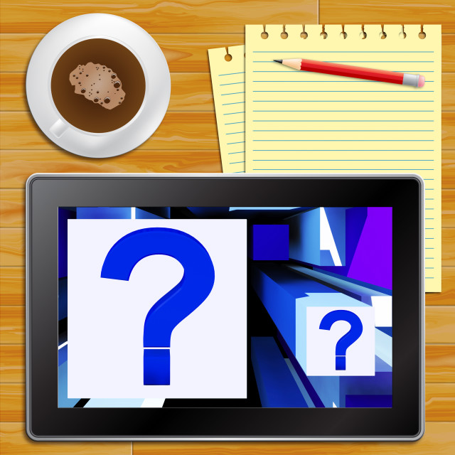 """""""Question Mark On Cubes Shows Uncertainty Tablet"""" stock image"""