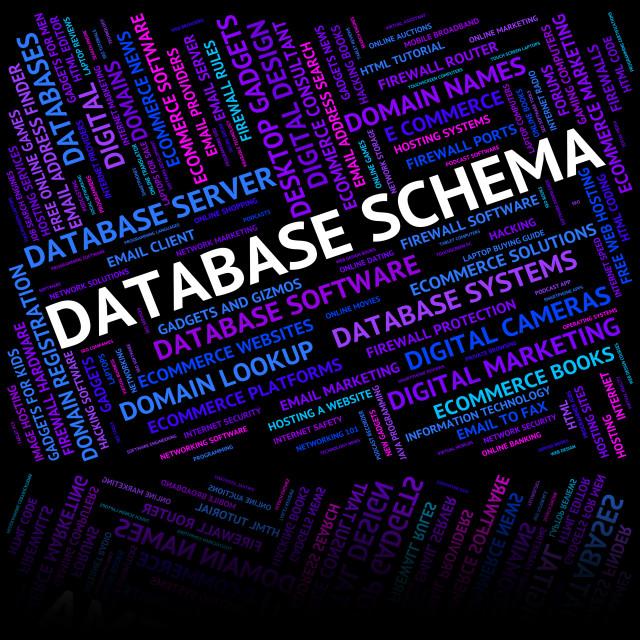 """Database Schema Indicates Schemas Charts And Word"" stock image"