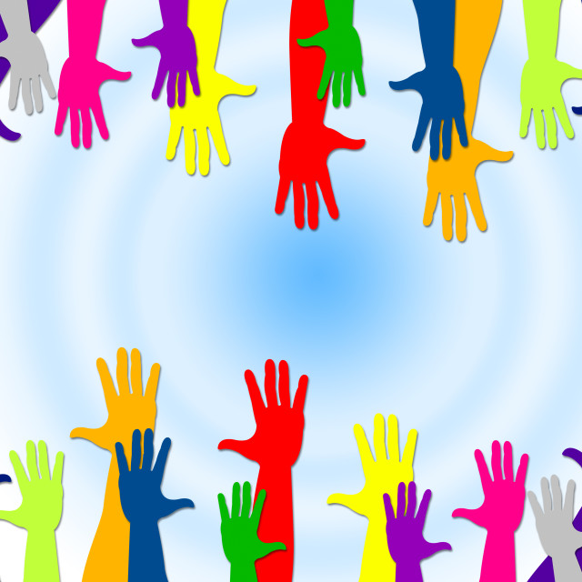 """""""Reaching Out Represents Hands Together And Buddies"""" stock image"""