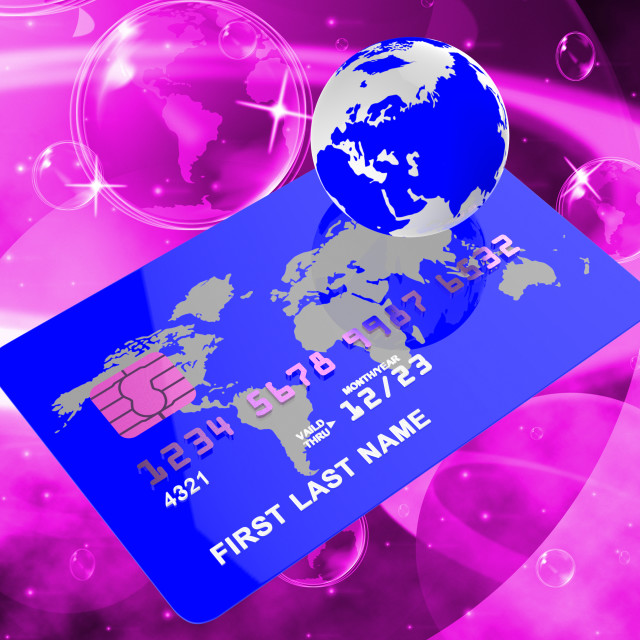 """Credit Card Represents Bankcard Globalisation And Planet"" stock image"