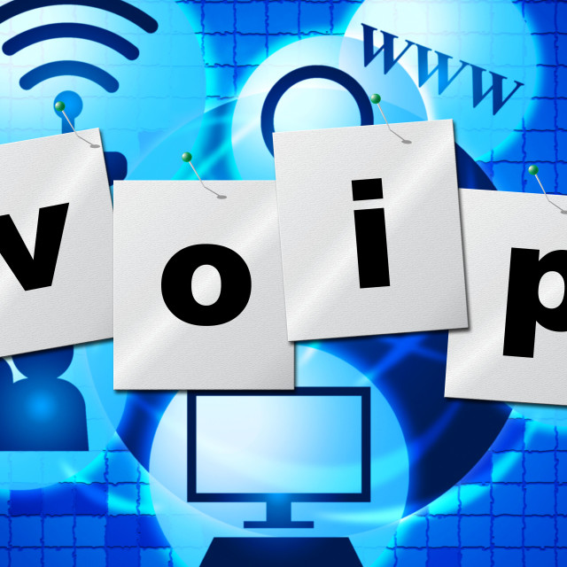 """Voip Communication Shows Voice Over Broadband And Chat"" stock image"