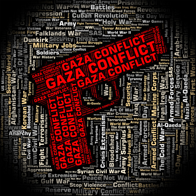 """""""Gaza Conflict Shows Combat Wordclouds And Wars"""" stock image"""