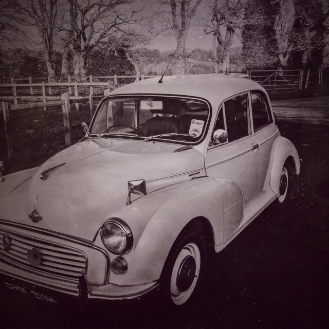 """Retro style Image of a vintage Morris Minor Saloon"" stock image"