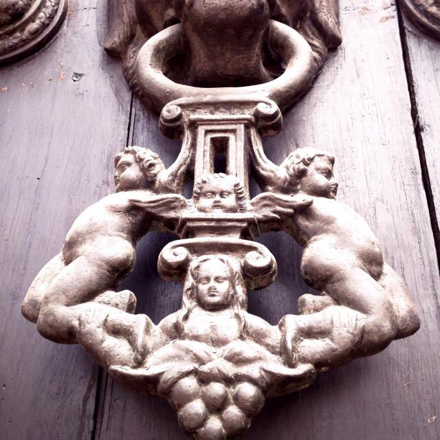 """""""Cherubs on door knocker. Plaza de Armas - Lima Peru"""" stock image"""