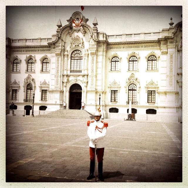 """Standing guard outside Presidential Palace on Plaza de Armas. Lima Peru"" stock image"