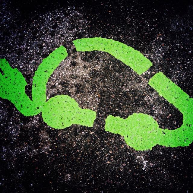 """Electric car recharging point parking bay marking"" stock image"