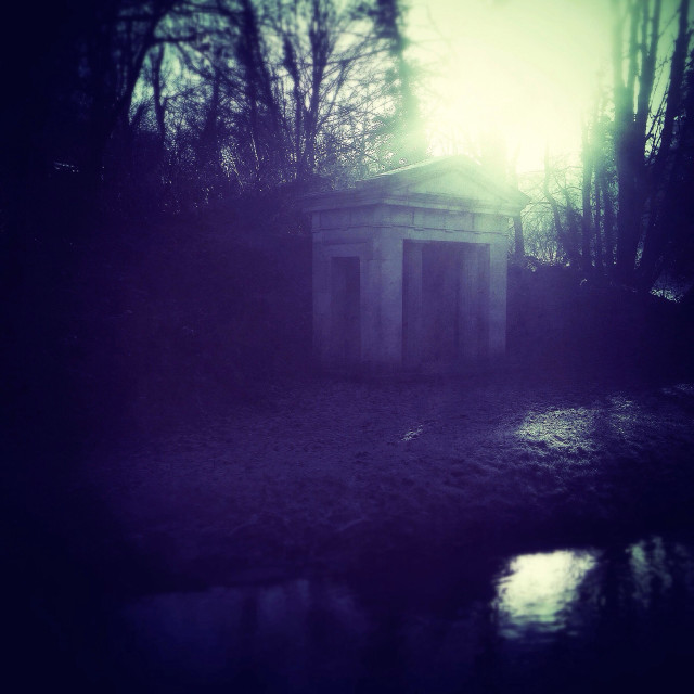 """""""Moody portico on a river bank."""" stock image"""