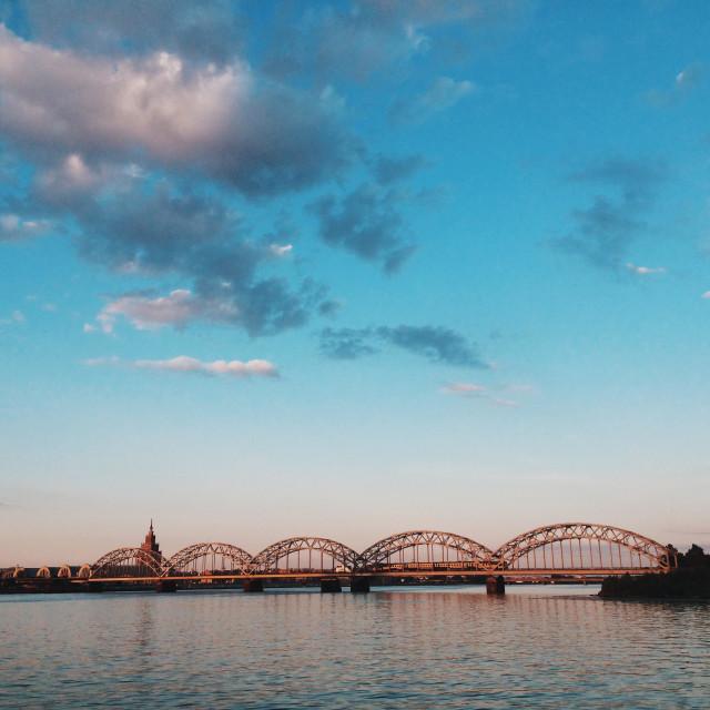 """Railway bridge over daugava river, riga, Latvia"" stock image"