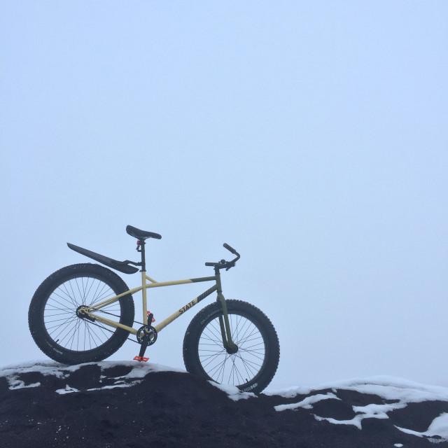 """Fatbike fun in the Missoula fog"" stock image"