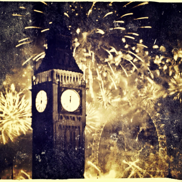 """""""Big Ben and London Eye New Year fireworks, City of Westminster, UK"""" stock image"""