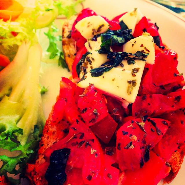 """""""Basil, tomato and mozzarella bruschetta"""" stock image"""