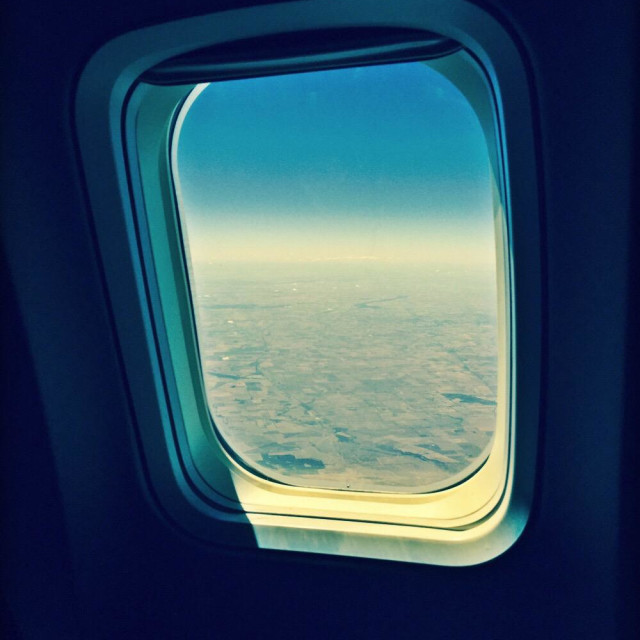 """Air plane window internal view"" stock image"