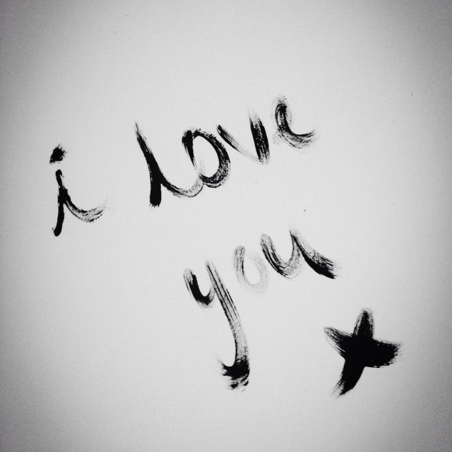 """""""I love you written on wall in paint (black and white)"""" stock image"""